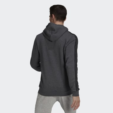 Sweat-shirt à capuche Essentials Fleece 3-Stripes Gris Hommes Sportswear