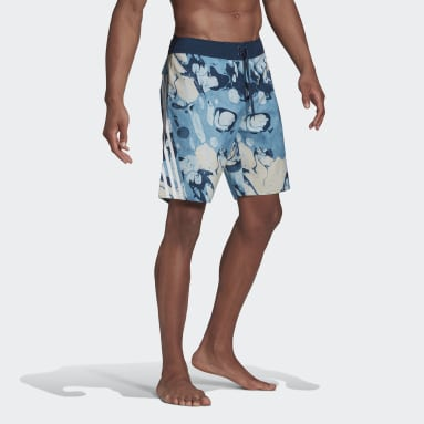 Men Swimming Blue Knee-Length Graphic Board Shorts