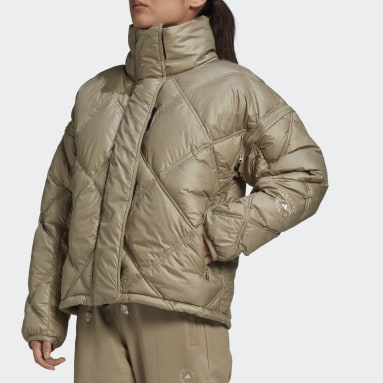 Short Padded Jacket Beżowy