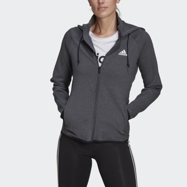 Women Training Grey adidas Women Designed To Move AEROREADY Full-Zip Hoodie