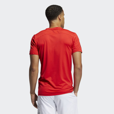 Men Running Red Primeblue AEROREADY 3-Stripes Slim Tee