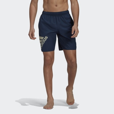 Men Swimming Blue Classic-Length Logo Swim Shorts