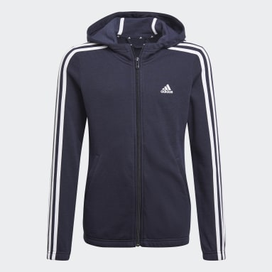 Meisjes Sportswear Blauw Essentials 3-Stripes Hoodie