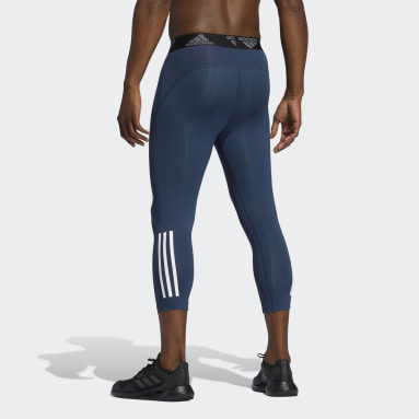 Men Gym & Training Blue Techfit 3/4 3-Stripes Tights
