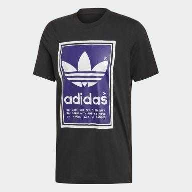 T-shirt Filled Label Noir Hommes Originals