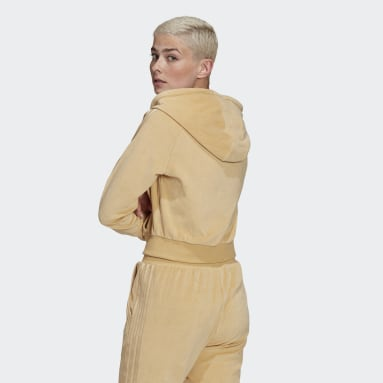 Veste à capuche LOUNGEWEAR Cropped Full Zip Beige Femmes Originals