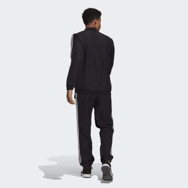 Men Sportswear Black AEROREADY Essentials Regular-Fit 3-Stripes Track Suit