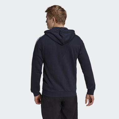 Men Sport Inspired Blue Essentials French Terry 3-Stripes Full-Zip Hoodie
