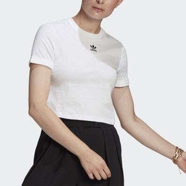 Women Originals White Adicolor Classics Roll-Up Sleeve Crop Top