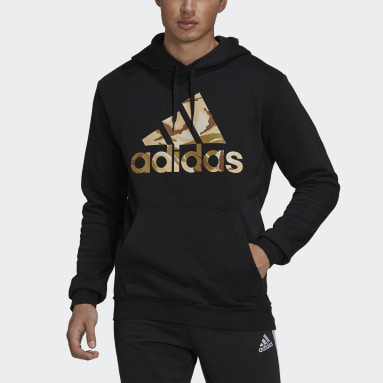 Muži Sportswear čierna Mikina skapucňou Essentials Fleece Camo-Print