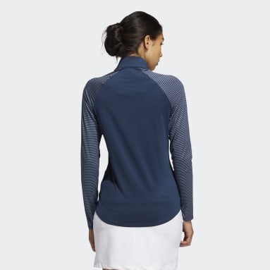 Women's Golf Blue Solid UV Long Sleeve Polo Shirt