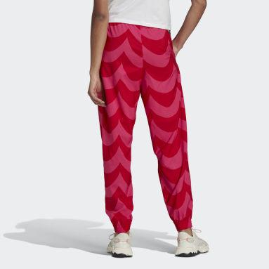 Women Originals Red Marimekko Cuffed Woven Track Pants