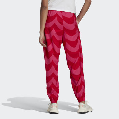 Pantalon de survêtement tissé Marimekko Cuffed rouge Femmes Originals
