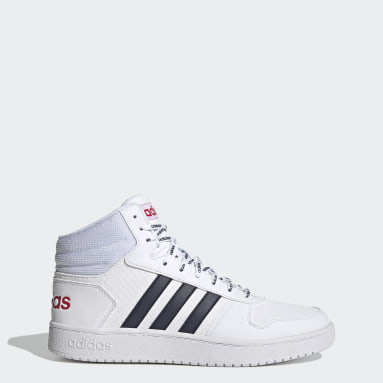 Men Sport Inspired White Hoops 2.0 Mid Shoes