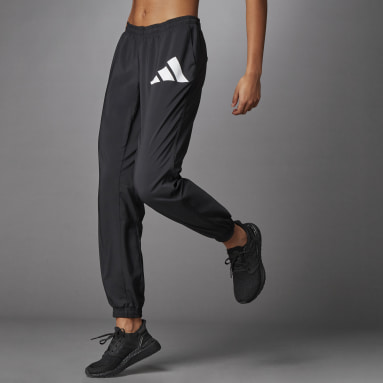 Women Running Black 3 Bar Logo Warm-Up Sports Pants