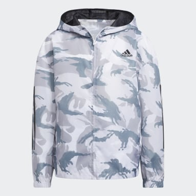 Youth Training White Print Camo Wind Jacket