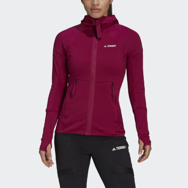 Women's TERREX Burgundy Terrex Tech Hooded Fleece Hiking Jacket