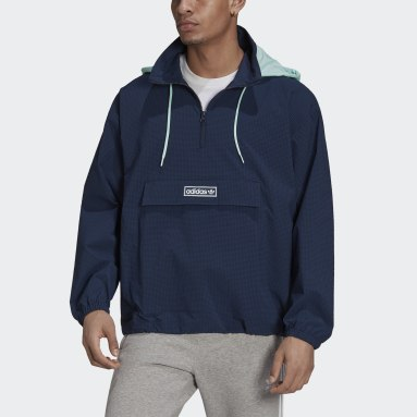 Men Originals Blue 1/4 Zip Jacket