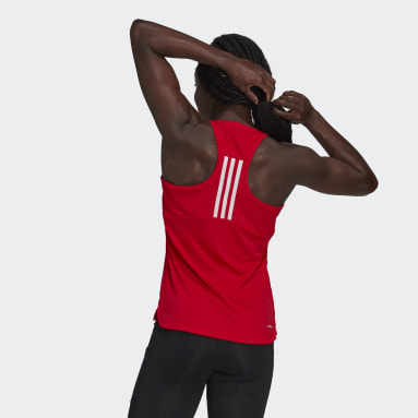 Women Gym & Training Red Primeblue Designed 2 Move 3-Stripes Sport Tank Top