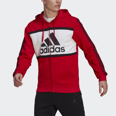 Men Sport Inspired Red Essentials Colorblock Logo Hoodie