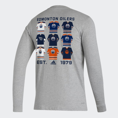 Men Hockey Grey Oilers Long Sleeve Tee