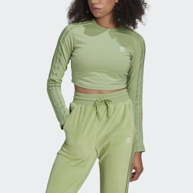 Ženy Originals zelená Mikina LOUNGEWEAR adidas Cropped Long Sleeve