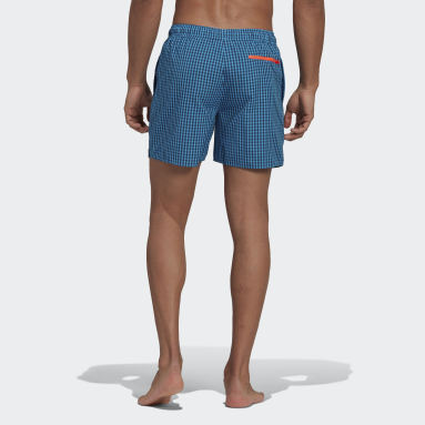 Men Swimming Turquoise Check Swim Shorts