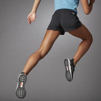 Short 3 Bar Logo Woven Noir Femmes Running