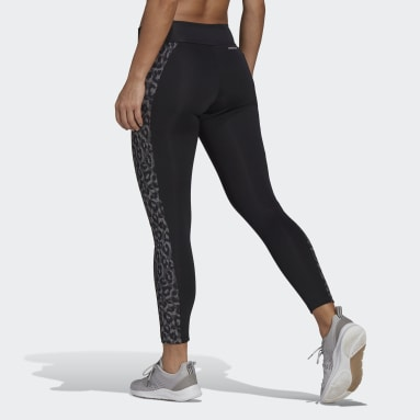 Dames Fitness En Training Zwart adidas Designed To Move AEROREADY Leopard Print 7/8 Legging