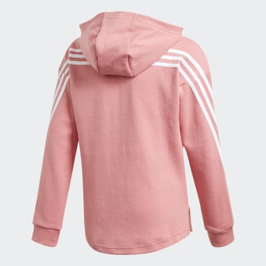 Youth 8-16 Years Gym & Training Pink 3-Stripes Full-Zip Hoodie