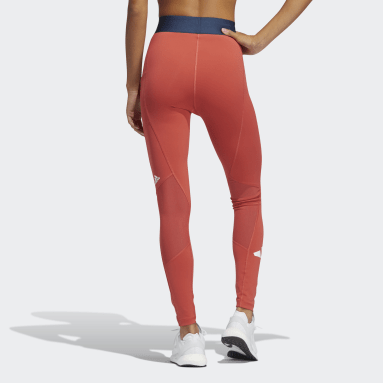 Dames Wintersport Rood Techfit Life Mid-Rise Badge of Sport Lange Legging