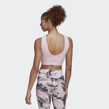 Canotta adidas Essentials Camouflage 3-Stripes Cropped Rosa Donna Sportswear