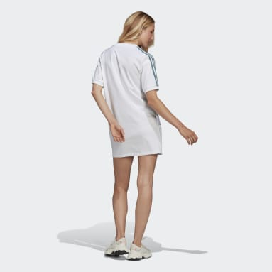 Women's Originals White Adicolor 3D Trefoil Tee Dress