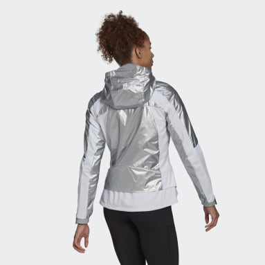 Women Running Silver adidas Marathon Space Race Jacket