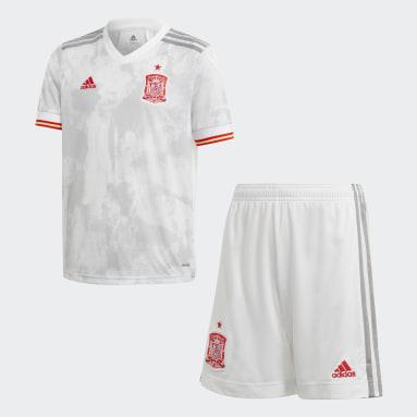 Equipamento Alternativo de Espanha para Jovem Branco Criança Futebol