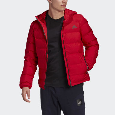 Men City Outdoor Red Helionic Hooded Down Jacket