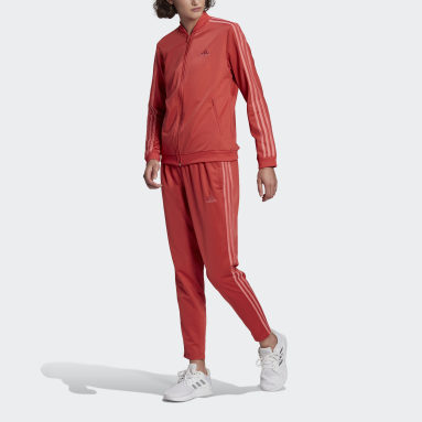 Essentials 3-Stripes Track Suit Czerwony