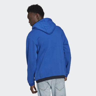 Men Originals Blue SPRT Archive Mixed Material Sweat Hoodie