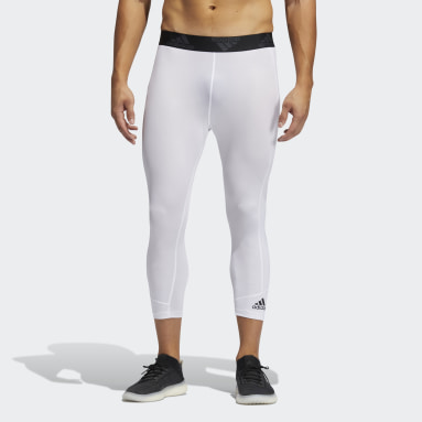 Men Running White Techfit 3/4 Tights