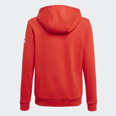 Boys Training Red Logo Full-Zip Hoodie