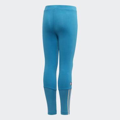 Kids 4-8 Years Gym & Training Turquoise Frozen Leggings