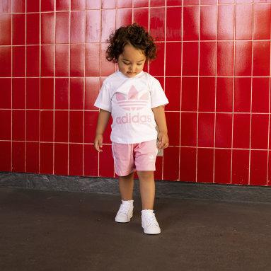 Girls Originals White Trefoil Shorts Tee Set