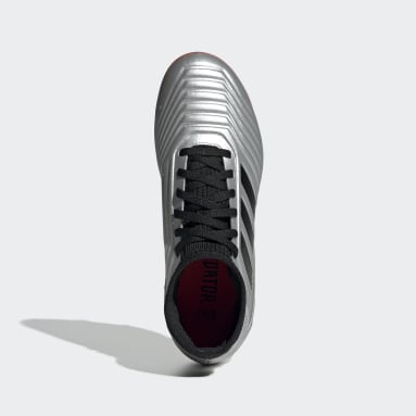 Zapatos de Fútbol Predator 19.3 Terreno Firme (UNISEX) Plateado Niño Fútbol