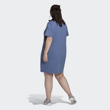 Women's Essentials Blue adidas Essentials Logo Dress (Plus Size)