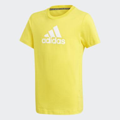 T-shirt Logo Jaune Garçons Fitness Et Training