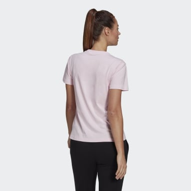 Women's Essentials Pink Outlined Floral Graphic Tee