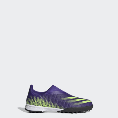 Kids Football Purple X Ghosted.3 Laceless Turf Boots