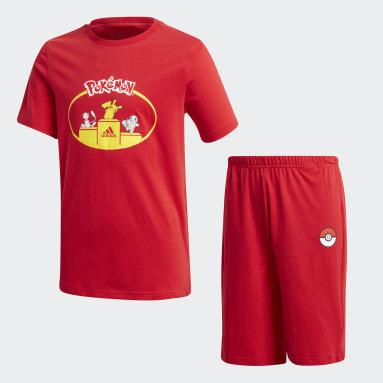 Conjunto de Shorts y Remera Pokémon Rojo Niño Training