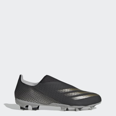 Men's Soccer Black X Ghosted.3 Laceless Firm Ground Soccer Cleats