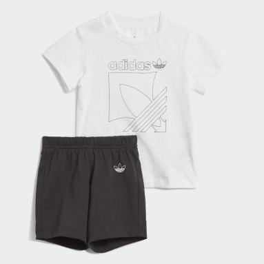 Infants Originals White Badge Shorts and Tee Set